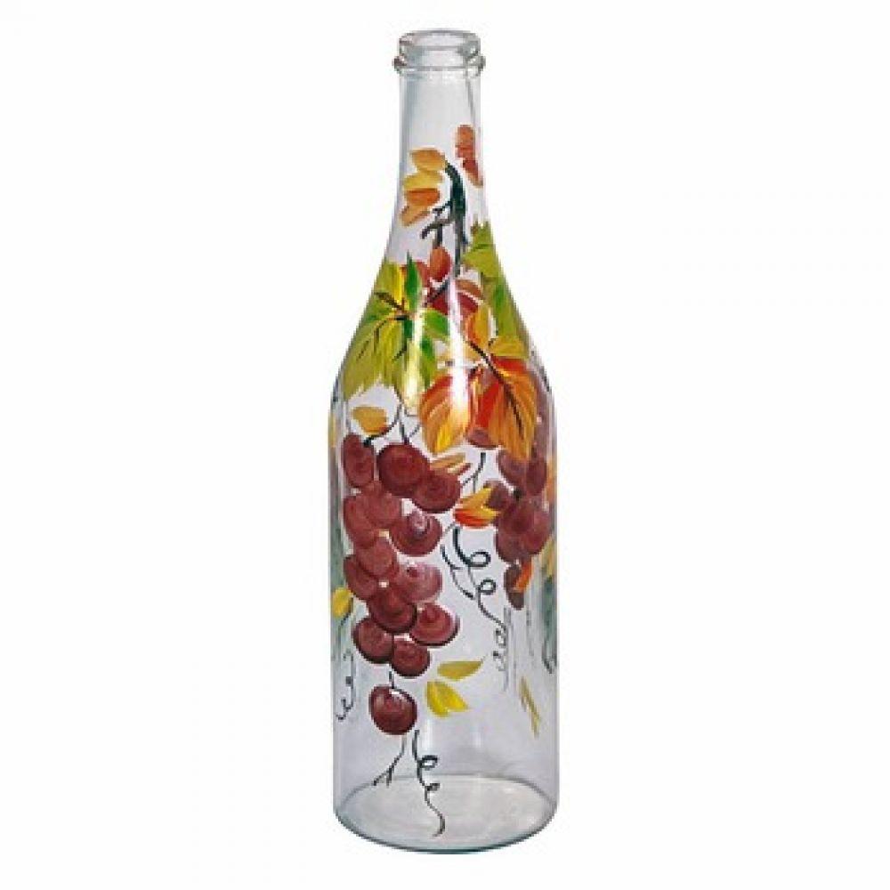 Купить Стеклянная бутылка 1 л «Виноград» с ручной росписью в Абакане