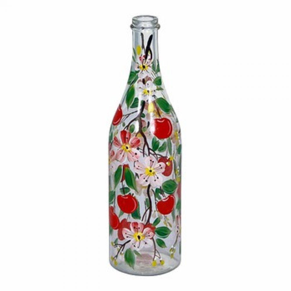 Купить Стеклянная бутылка 1 л «Вишня» с ручной росписью в Уфе