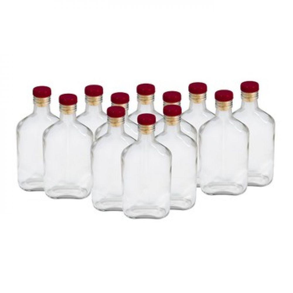 Купить Комплект стеклянных бутылок «Фляжка» 0,25 л (12 шт.) в Уфе